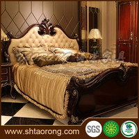 Antique style king size wooden italian furniture bed