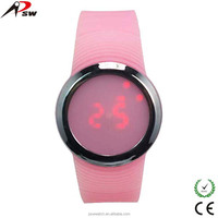Digital movt watch led light touch screen silicone watch