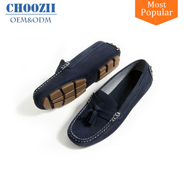 2017 European Tide Navy Blue Big Boys Leather Loafers Shoes with Fringe