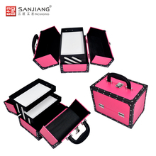 Customize Logo Portable Lockable Faux Leather Cosmetic Makeup Case