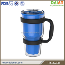 24oz insulated plastic mug with handle and lid