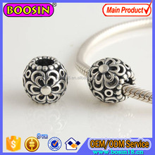 Antique Silver Europe Bead Charm Flower Engraved Bracelet Charm # P4