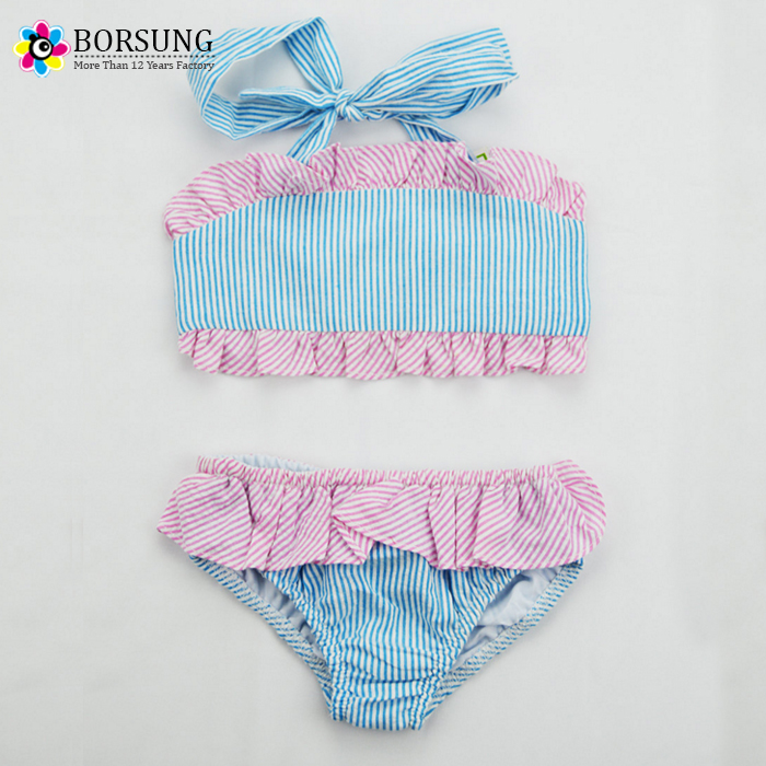 Little Girls Blue & Pink Ruffled Bathing Suit Girl Summer Beach Wear Seersucker Bikini Ruffle Swimsuit
