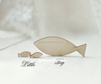 unfinished natural wood fish shaped necklace ready to decorate