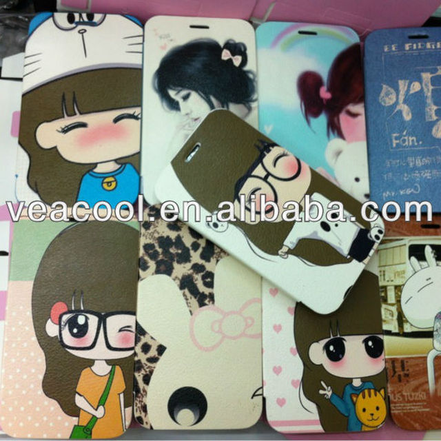 Painted thin cartoon wallet leather Case for Samsung Galaxy Note 2 N7100 i9220