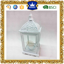 Excellent quality white top hanging wood lantern with flower printing on glass small size