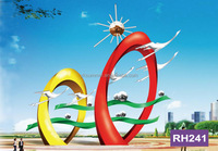 Abstract flying bird sculpture around painted ring