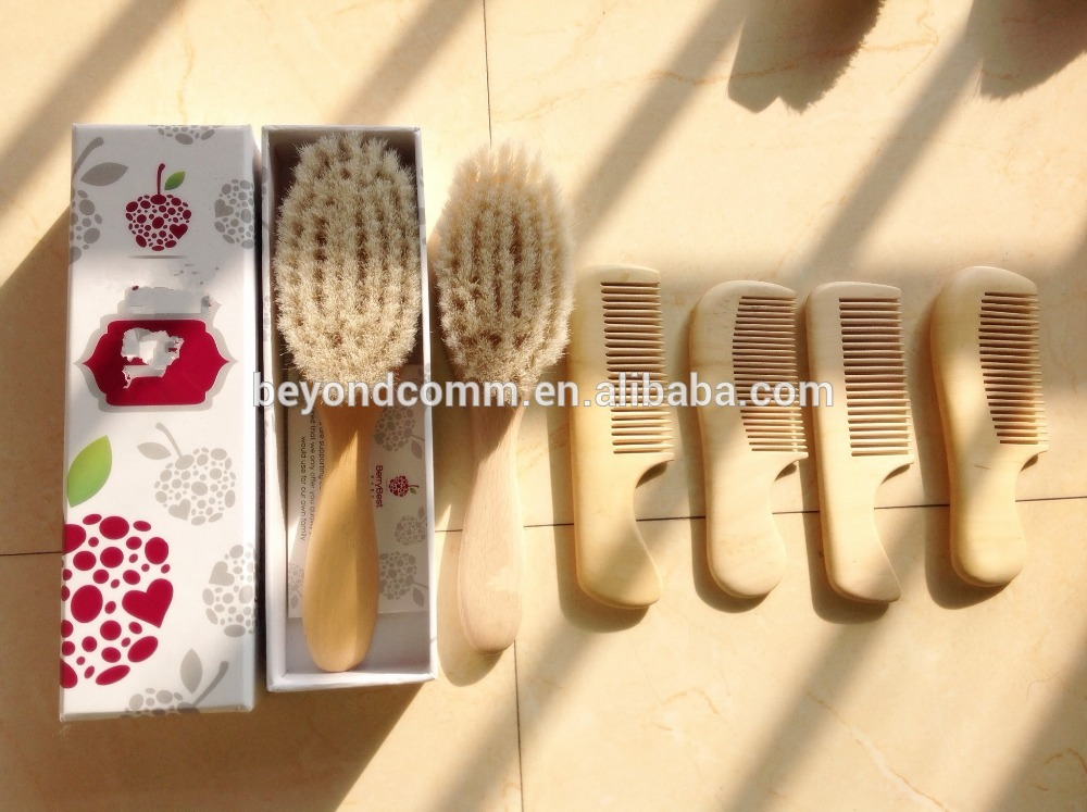 Wooden baby Brush and Comb Set for Baby - Natural Bamboo Wooden