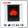 white wood artificial electric fireplace mantel with remote control