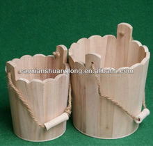New hot sale antique wooden bucket with rope handles