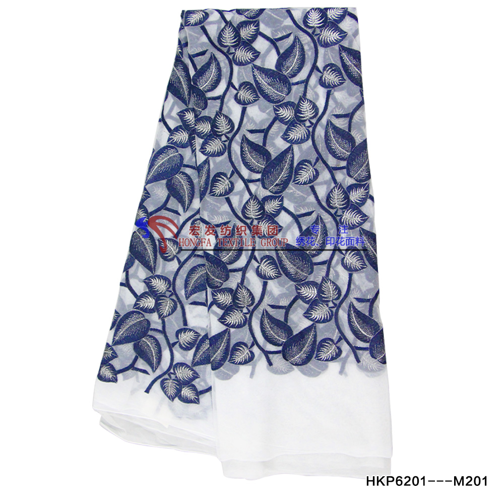 Polyester mesh fabric with fresh mint leaves embroidery digital printing fabric/apparel accessories