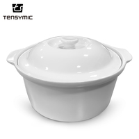 Good quality double ears food safe ceramic soup bowl cooking pot
