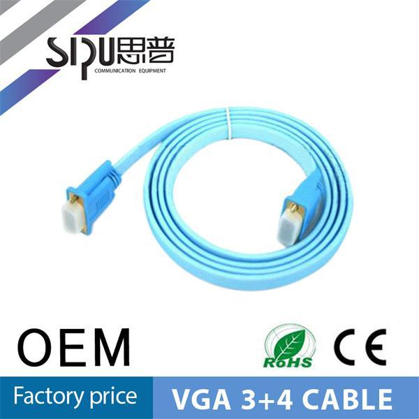 SIPU high quality flat m/f 3+4 parallel to vga cable db15 male to female