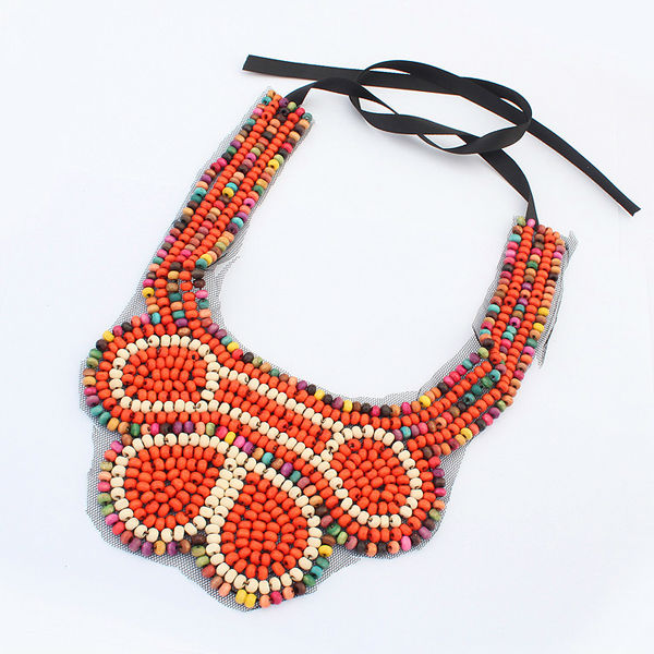 Crystal friendship style ethnic jewelry multi-color seed beaded heavy handmade string and bead necklaces PN1618