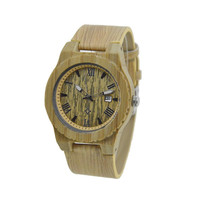 Wooden watch for men bamboo case and leather strap maple W109C
