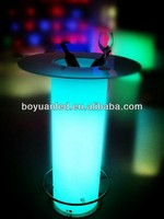 illuminated colorful LED round glass top wine bar tables