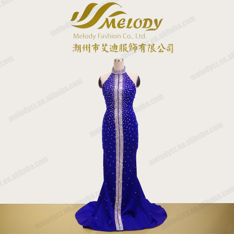 Elegant backless halter diamond decorate blue pageant dresses for Miss World