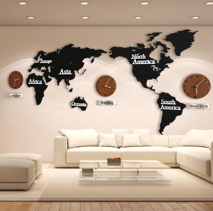 Modern European Style World Map Large Wall Clock Creative 3d Wooden ...