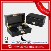 Black PU travel leather watch case&box with metal accessories
