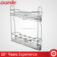 Eco-friendly stainless steel kitchen cabinet magic corner pantry sliding basket