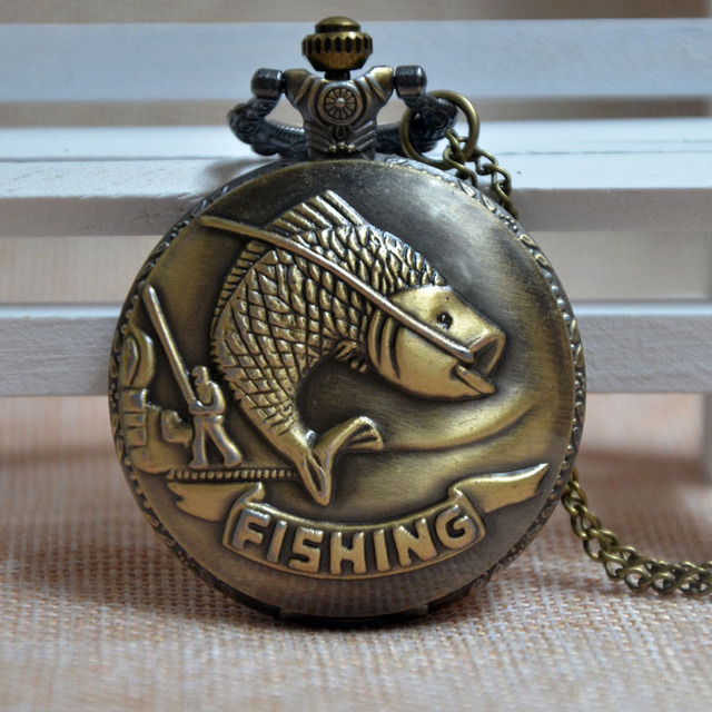 Bronze Fishing Quartz Pocket Watch Retro Necklace Pendant Mens Womens Gift Regarder PA215