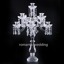 Elegant clear crystal candelabra hanging beads for wedding centerpiece