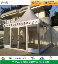 Outdoor pvc glass pagoda wedding tent for sale, high top garden gazebo marquee