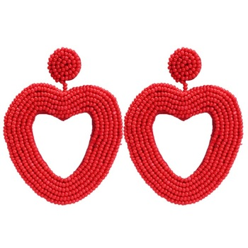 Romantic Beaded Earrings  Heart Shaped Handmade Earrings Simple Bohemian Earrings Wholesale