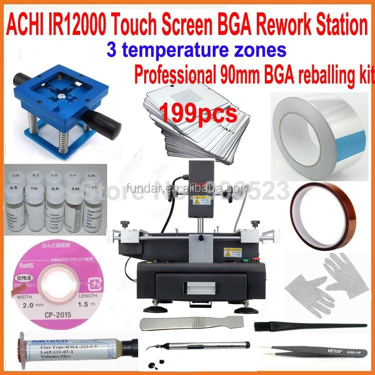 2016 New ACHI IR12000 touch screen bga rework station motherboard repair machine +199pcs 90mm laptop bga stencils +20 gifts