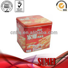 Square egg roll tin box with pressure lid