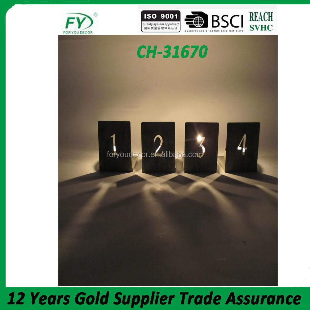 Cheap small mini metal candle holder with number design home decoration CH-31670