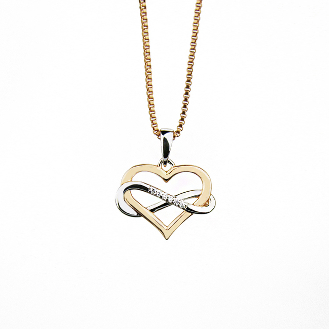 Charming simple style heart shape pendant gold chain diamond necklace in silver jewelry