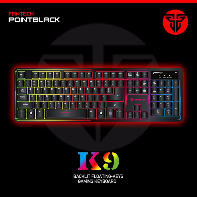 High quality Brand FANTECH K9 ABS Colorful LED Backlit Wired USB Gaming Keyboard Computer Keyboard for Desktop Laptop