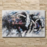 Buffalo wild ox animal canvas oil painting realistic animal pictures home decorating wall pictures for bedroom