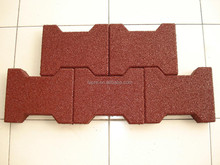 Dog bone shaped rubber brick pavers