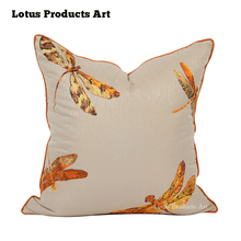 Dragonfly Series Orange Antique Chinese Custom Print Storehouse Decorative Pillow