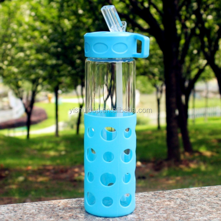 Made In China insulated glass juice water bottle straw with silicone sleeve