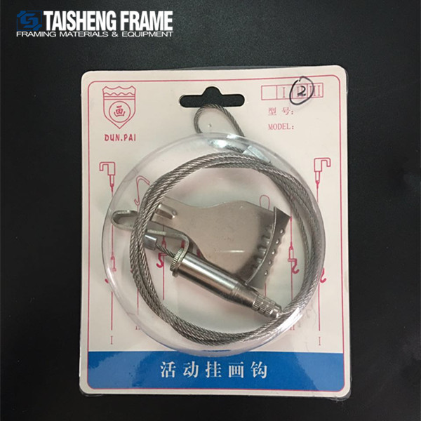 TSF04 Two Meters Moveable hook newly ceiling steel wire hanger picture frame soft stainless wire hanging rope