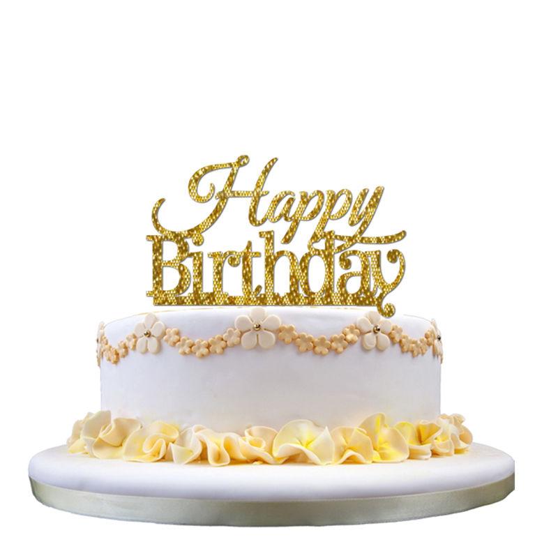 Glowdisplay Acrylic Happy Birthday Glitter Gold Cake Topper For ...