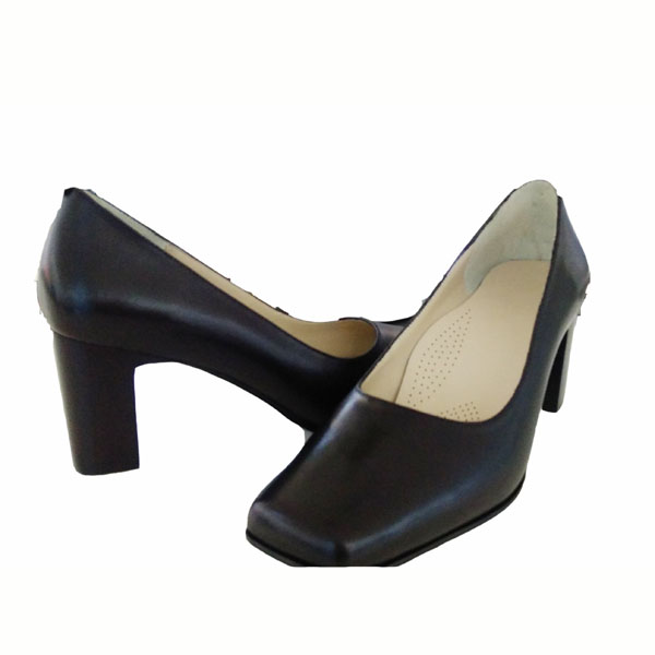 Tetragonum toe kitten heel slip on black leather shoes cute black women's pump comfortable stewardess shoes