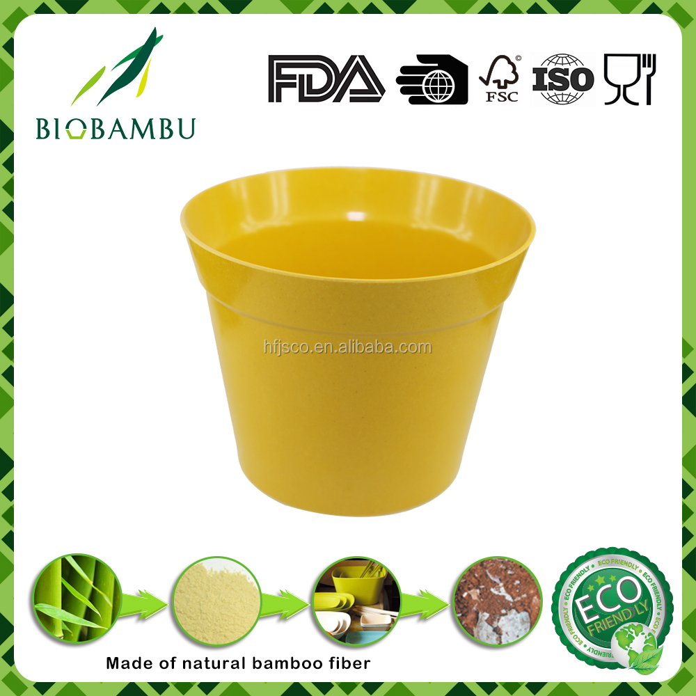 Conventional hot design bio bamboo fiber colorful flower pots for garden & home decoration