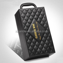 Custom Double Bottle Leather Wine Boxes,Leather Packaging