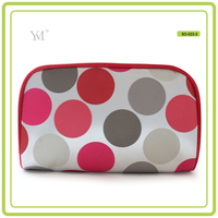 lady round dot sublimation wholesale travel fashion custom zipper woman satin cosmetic make up toiletry gift clutch bag