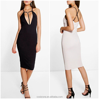 2016 Latest contrast harness details new dress wholesale plunge sexy dress women