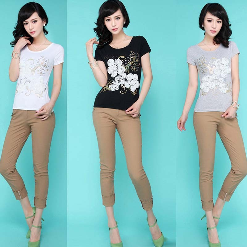 WA3008 2015 new round neck t-shirt Rose Embroidery Women T-shirt women summer tops