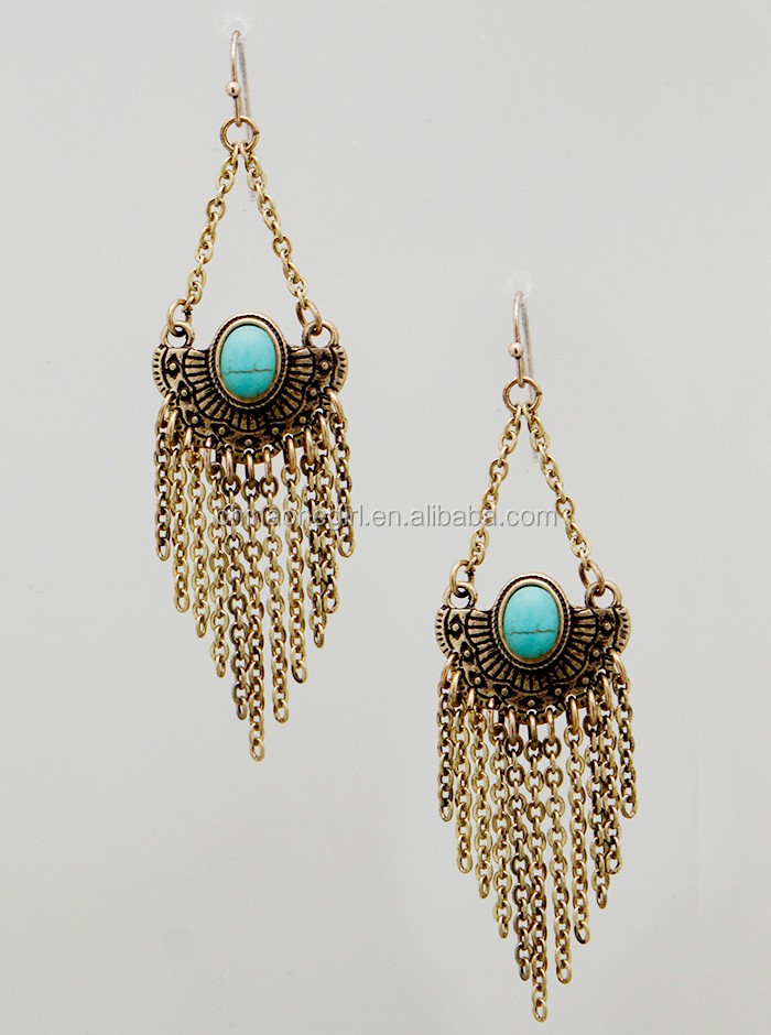 Turquoise Tassel Chain Fringe Drop Earrings