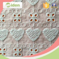 High quality love heart patterns cotton material embroidery lace fabric