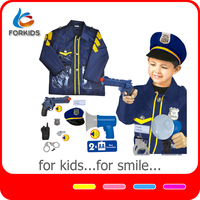 NEW 9PCS DELUXE POLICE OFFICER COSTUME ROLE PLAY TOY SET WITH PLASTIC ACCESSORIES
