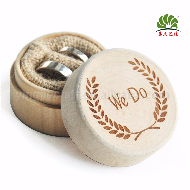 Round Shape Wedding Wooden Ring Box For Valentines Engagement Natural Bearer Box Rustic Jewellery Box Holder