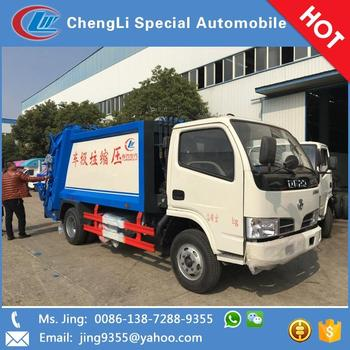New style 4x2 dongfeng 5000L compactor garbage truck manufacture